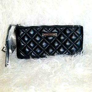 MARC JACOBS BLACK QUILTED LEATHER CLUTCH